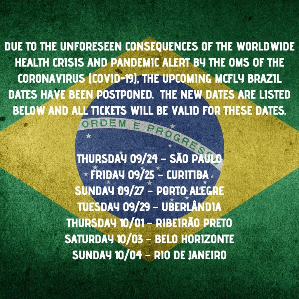 Mcfly adia shows no Brasil por causa do coronavírus